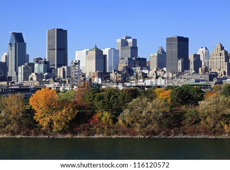 Montreal skyline in autumn, Saint Lawrence River - stock photo