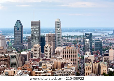 Montreal skyline -  view from Mount Royal at daytime - stock photo