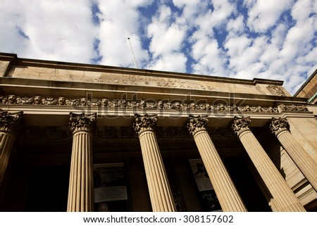 Montreal Stock Exchange old town pillar architecture - stock photo