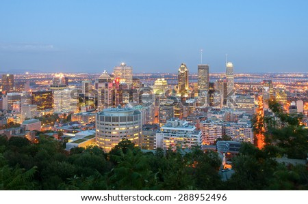 Montreal view after sunset - stock photo