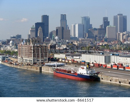 Montreal view, commercial navy - stock photo