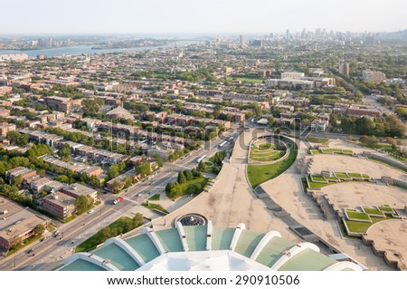 Montreal view from observatory in the Olympic Stadium - stock photo