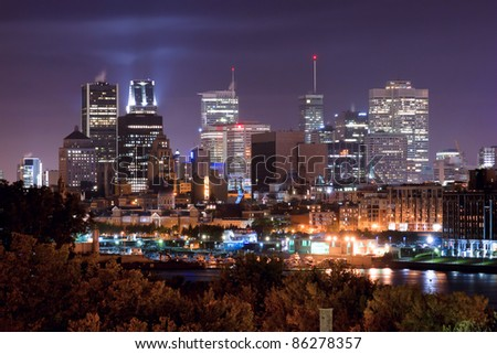 Montreal view from the Jacques Cartier Bridge. (Night Scene) - stock photo