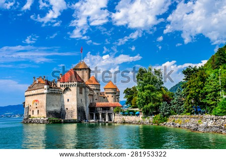 MONTREUX, SWITZERLAND - AUGUST 18, 2011 - Castle Chillon one of the most visited castle in Switzerland attracts more than 300,000 visitors every year. - stock photo