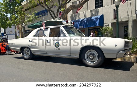 MONTROSE/CALIFORNIA - JULY 6, 2014: Dodge Coronet (formerly a Pasadena Police Car) owned by Ted Saraf at the Montrose Hot Rod & Classic Car Show. July 6, 2014 Montrose, California USA - stock photo