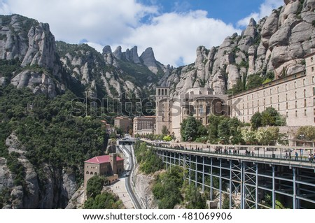 Montserrat monastery in the mountains, near the city of Barcelona, Catalonia,  Spain