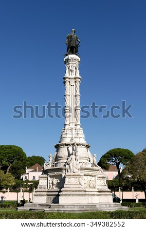 Monument Afonso de Albuquerque inaugurated in 1902 in Lisbon, Portugal - stock photo
