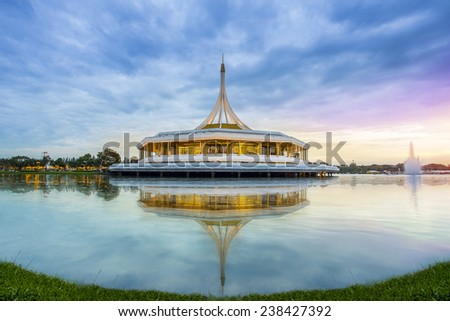 Monument at public park against water wave and beautiful sky at Suanluang Rama 9, Thailand  - stock photo