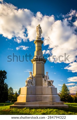 Monument at the National Cemetery in Gettysburg, Pennsylvania. - stock photo