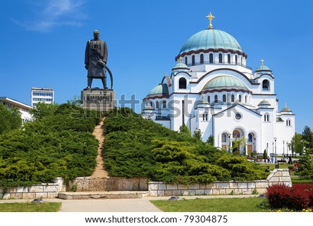 Monument commemorating Karageorge Petrovitch in front of Cathedral of Saint Sava in Belgrade, Serbia - stock photo