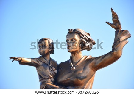 Monument for mother and son awaiting father on Novorossiysk embankment