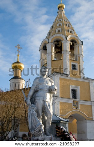 monument for russian heroics human at the church. - stock photo