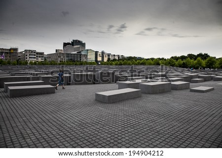 monument in memory of the Holocaust in Berlin  - stock photo