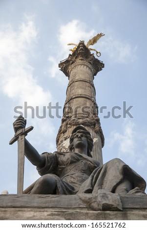 Monument in Plaza del Angel de la Independencia in Mexico DF - stock photo
