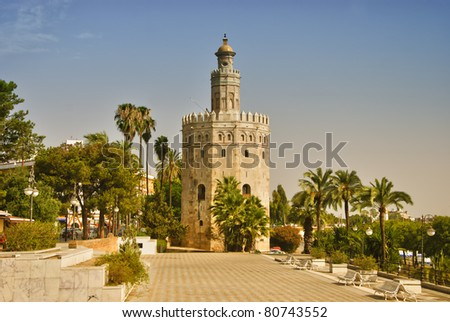 Monument in Seville - Tower of gold, (Torre del Oro) in Spain.