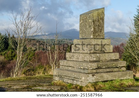 Monument in the hills of Snowdonia - stock photo