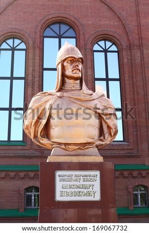 Monument of Alexander Nevsky in Pavlodar, Kazakhstan. Alexander Nevsky was the Prince of Novgorod and Grand Prince of Vladimir - stock photo