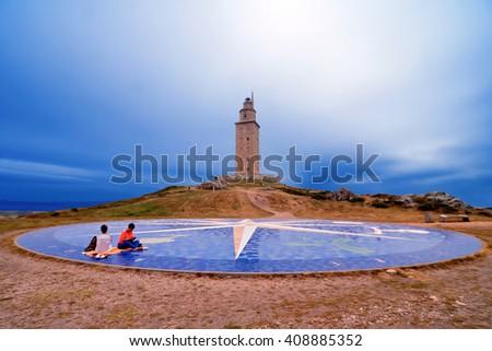 Monument of compass, Hercules tower, A Coruna, Galicia, Spain - stock photo