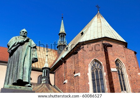 Monument of Dr. Jozef Dietl in Front of St. Francis of Assisi Church in Krakow, Poland - stock photo