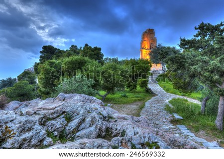 Monument of Filopappou (or Philopappou) in Athens Greece - stock photo