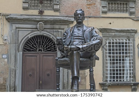 Monument of Giacomo Puccini in his native city of Lucca - stock photo