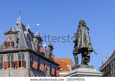 Monument of Jan Pieterszoon Coen in the center of Hoorn on Rode Steen square, The Netherlands