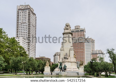 Monument of Miguel Cervantes on Plaza de Espana in Madrid, Spain. The writer is accompanied by Don Quijote and Sancho Panza.