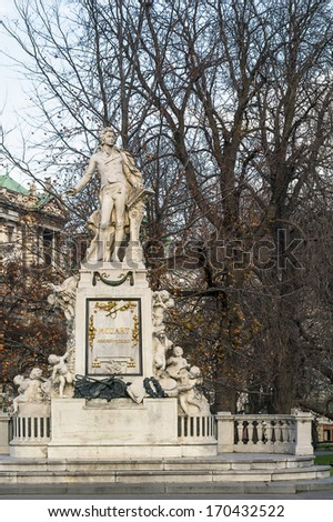 monument of Mozart is situated inside the Burggarten near Hofburg palace. the monument was erected in 1896 year - stock photo