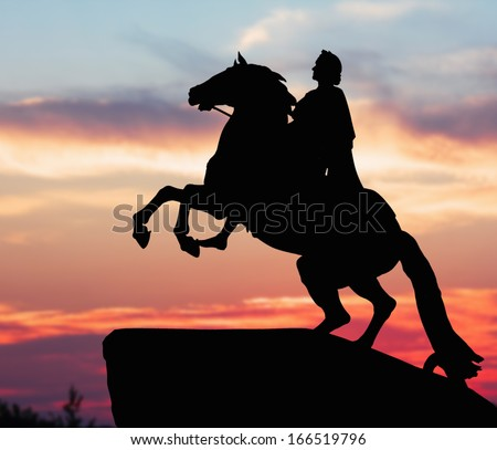 Monument of Peter Great, silhouette against the sunset. St. Petersburg, Russia