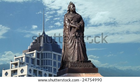 Monument of Queen Victoria in downtown Auckland, new Zealand - stock photo