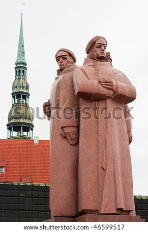 Monument of the Latvian Riflemen at the Strelnieku laukums square in the historic town centre. Riga, Latvia - stock photo