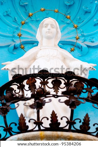 Monument Our Lady of Guadalupe.Located in a balcony - stock photo