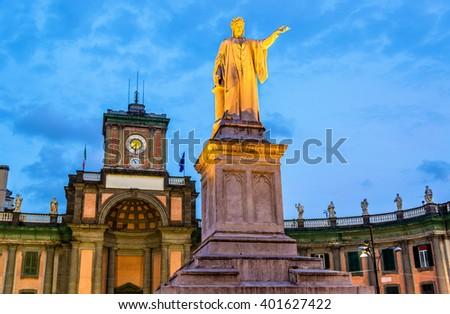 Monument to Dante Alighieri in Naples - Italy - stock photo