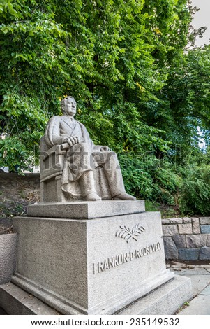 Monument to Franklin Roosevelt in Oslo in a cyt park - stock photo