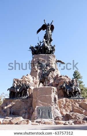 monument to I exercise of the andes - stock photo