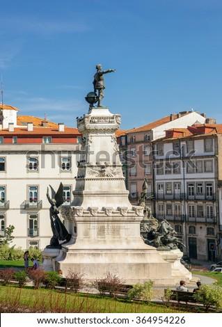 Monument to Infante Dom Henrique in Porto. - stock photo