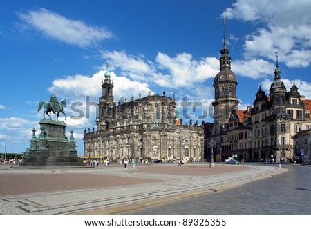 Monument to King John of Saxony, Catholic Church and Dresden Castle, Dresden, Germany