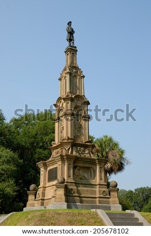 Monument to soldiers of the confederacy at Forsyth Park, Savannah Georgia - stock photo
