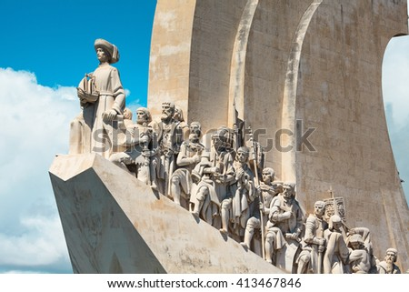 Monument to the Discoveries at Belem. Lisbon. Portugal. - stock photo