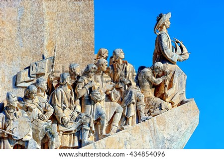Monument to the Discoveries in Lisbon. Illustration - stock photo
