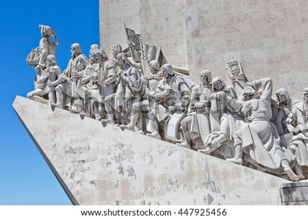 monument to the discoveries Lisbon - stock photo