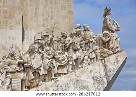 Monument to the Discoveries (The Padrao dos Descobrimentos) located in the Belem district of Lisbon city, Portugal. Celebrates the Portuguese who took part in the Age of Discovery - stock photo