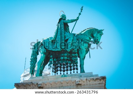 Monument to the first king of Hungary Istvan Great. King on the horse.