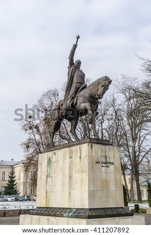 "Monument to the founder of Zamosc city - Jan Zamoyski. Zamosc - example of a Renaissance town in Central Europe, designed with Italian theories of ""ideal town"", UNESCO World Heritage List. Poland. - stock photo"