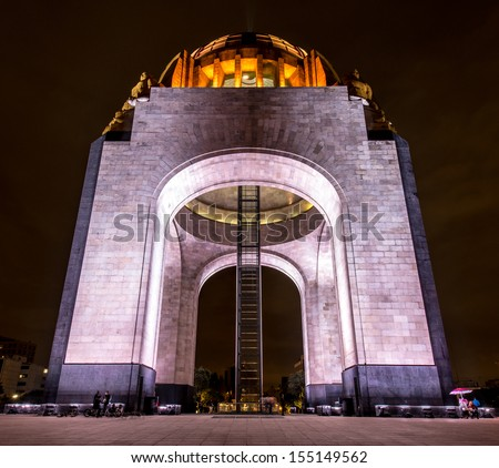 Monument to the Mexican Revolution (Monumento a la Revolución Mexicana). Located in Republic Square, Mexico City. Built in 1936. Designed in the eclectic Art Deco and Mexican socialist realism style. - stock photo