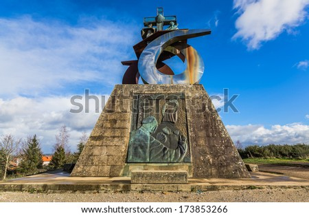 Monument to the Pope in Gozo mountain, Santiago de Compostela. - stock photo