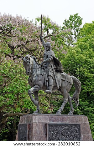 Monument to Tsar Kaloyan - one of the most remarkable rulers in Bulgarian history. The monument is made of brass. His height is over 8 meters. - stock photo