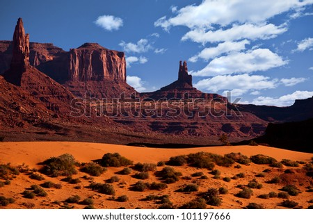 Monument Valley Arizona, The Red Rock Buttes, also called Mittens - stock photo