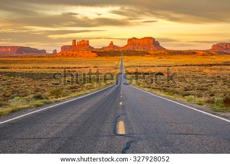 Monument Valley at sunrise. - stock photo