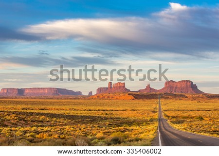 Monument Valley at sunrise.